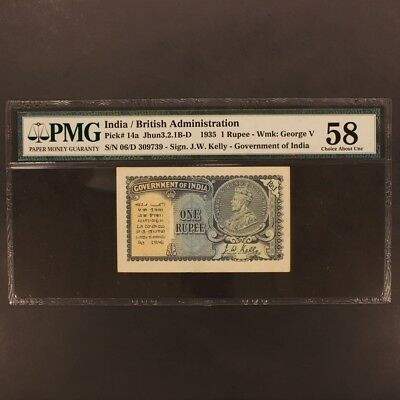 India Rupee 1935 P#14a Banknote PMG 58 - Choice About Unc