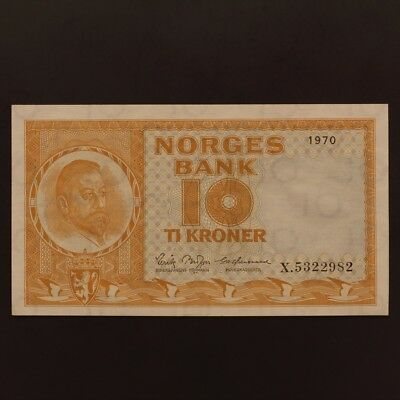 Norway 10 Kroner 1970 P#31e REPLACEMENT NOTE - Prefix X Banknote ChVF