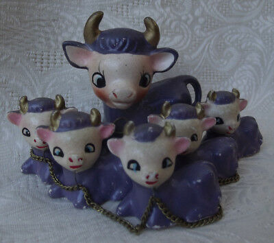 Vtg Purple COW FAMILY Chained Ceramic FIGURINES Mom Babies Quality Product Japan