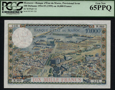 Tt Pk 52 1954-55 Morocco 100 Dirhams On 10000 Francs Pcgs 65 Ppq Scarce As Gem