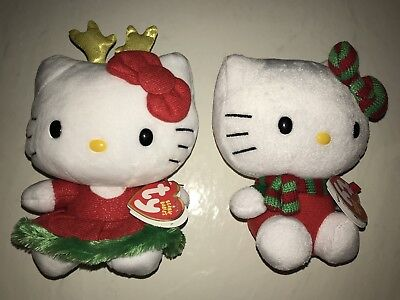 2 Hello Kitty Ty Beanie Babies Holiday Christmas Winter Stuffed Animal Plush NEW