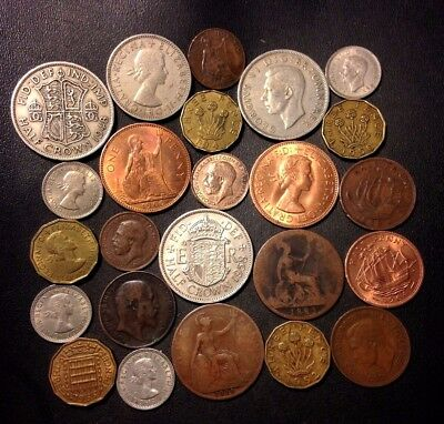 Vintage Great Britain Coin Lot - 1883-1967 - 24 Great Coins - Lot #D6