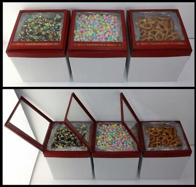 3 Country General Store Supreme Baker Hinge Glass Lid Cookie Candy Display Cases