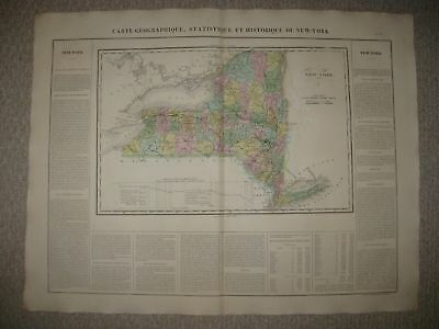 Huge Folio Antique 1825 New York Carey & Lea Buchon Handclr Map City Long Island