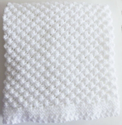Handmade WHITE Knit Crochet BABY Afghan Blanket Throw Newborn POPCORN RASPBERRY