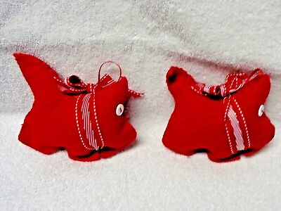 Scotty Scottie Dog Red Felt Candy Stripe Red White Ribbon Ornaments Set of Two