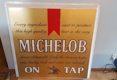 Vtg Michelob On Tap Beer Outdoor Plastic Bubble Light Up Sign Bud Anheuser Busch