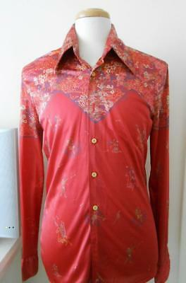 Vintage 70's Nik Nik Red Copper Western Style Signed In Print Shirt L Italy