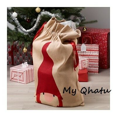 New IKEA Vinter 2017 Santa Claus Gift Bag Christmas fabric with strings