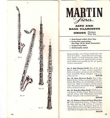 Martin Freres, Clarinet, Woodwinds Price Booklet