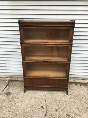 Antique Oak Wood Stacking Bookcase Barrister / Lawyers  Bookcase