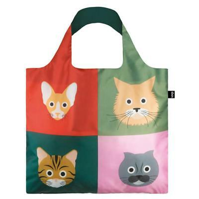 LOQI Grocery Shopping Fold Reusable TOTE BAG Washable CAT KITTEN SIAMESE TABBY