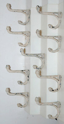 Lot of 9 Vintage Cast Iron Rustic Coat Hooks (White)