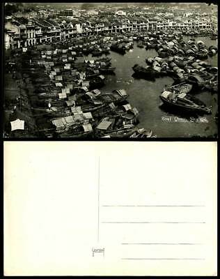 Singapore Old RP Postcard BOAT QUAY Harbour Native Sampans Boats Bird's Eye View