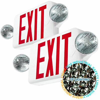 2pack LED Exit Sign & Emergency Light – High Output - RED Compact Combo UL New