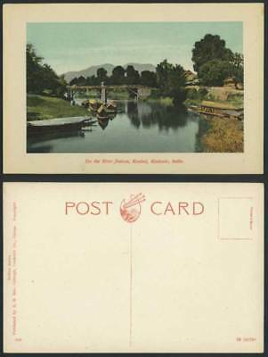 India Old Postcard Boats & Bridge, On The River Jhelum, Kanbal, Kashmir Cashmere