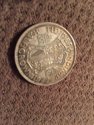 SILVER 1942 Great Britain Half Crown Silver Foreign Coin AWESOME