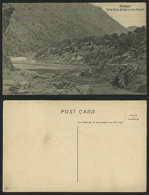 India Old Postcard Kashmir Twig Jhula Bridge on the Chenab BRIDGE River Mountain
