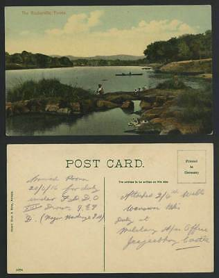 India 1916 Old Colour Postcard The Rosherville POONA, Stone Bridge, Birds & Boat