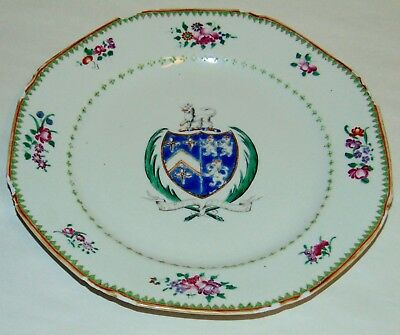 ANTIQUE C1775 ARMORIAL PLATE Chinese NEEDS TLC Semper Fidelis LYNCH