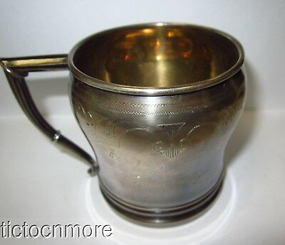 ANTIQUE WHITING STERLING SILVER RUTGERS FEMALE COLLEGE CLASS OF 1879 CUP 75gr