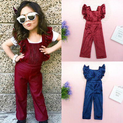 Fashion Toddler Kids Girls Velvet Bib Pants Backless Jumpsuit Outfit Clothes