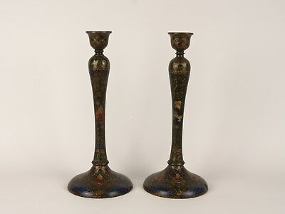 A Pair of Vintage Kashmiri Hand Painted Turned Wood Candlesticks.