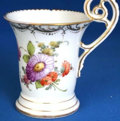 Antique Dresden Continental Porcelain Hand Painted Cup Ornate Handle