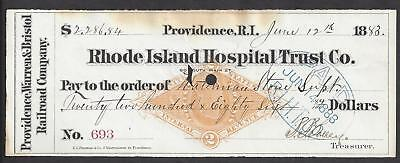 1883 Rhode Island Railroad Bank Check RN-G1
