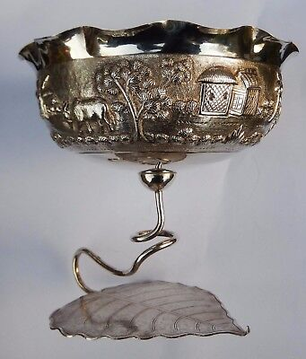 Fine Antique Anglo Indian Solid Silver Bon Bon Dish; Dass & Dutt, Calcutta c1890