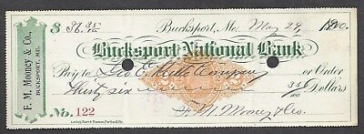1900 Bucksport Maine Bank Check RN-X7