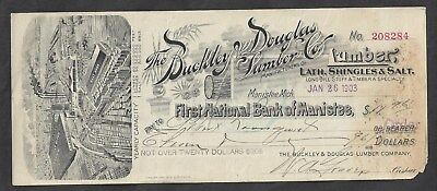 "1903 Manistee Michigan ""Lumber"" Bank Draft"