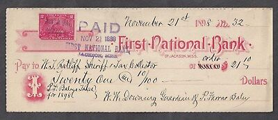 "1898 Jackson Mississippi Bank Check ""Sheriff"""