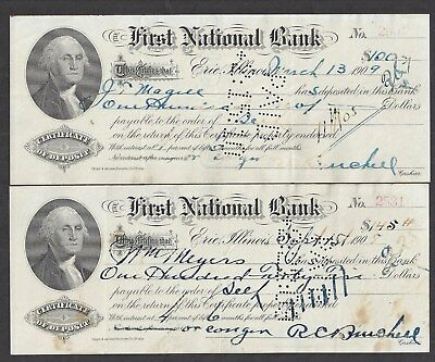 "1908 & 1909 Certificates of Deposit Erie Illinois ""Washington"""