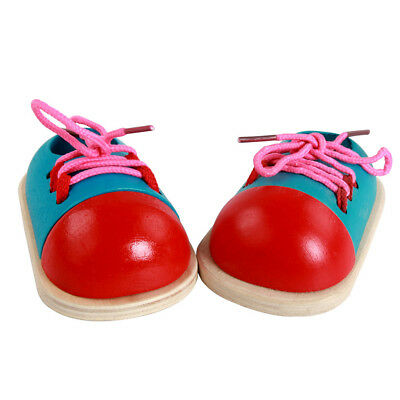 1PCS Wooden Lacing Tie Shoe Toy Toddler Baby Kids Early Educational Learning Toy