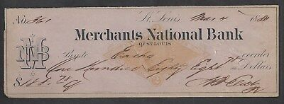 1880 St. Louis Missouri Bank Check RN-G1