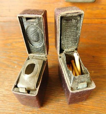 Victorian Travelling Inkwell and Match Vesta Case Leather Clad c1900