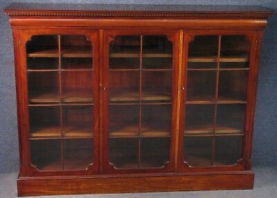 Edwardian Solid Mahogany 3 Door Glazed Bookcase / Cabinet