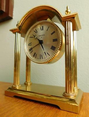 SWIZA Vintage Brass Swiss Portica Case Mantle Clock with Alarm