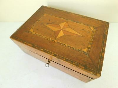 Beautiful Victorian Parquetry Wooden Jewelry Games Box 1890s with inner Tray