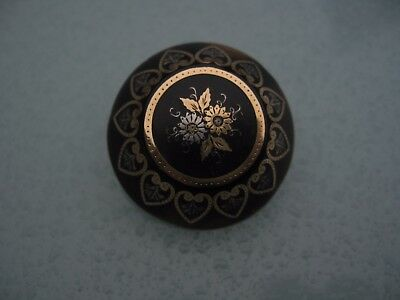 ANTIQUE Victorian Pique Faux TORTOISESHELL DOMED BROOCH GOLD SILVER INLAID DECOR