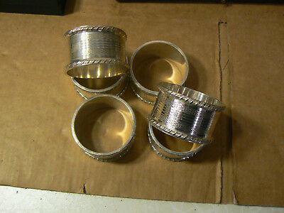 Antique Set Of 6 Silver Plate Engine Turned Napkin Rings Blank Cartouch