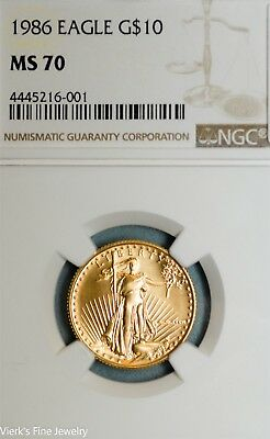 Key Date Early MS70 NGC Slab 1986 US $10 Eagle 90% Gold Coin Free Shipping
