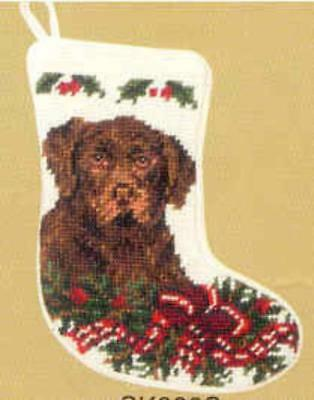 NP Quality LAB CHOCOLATE Mini Needlepoint Christmas Stocking RETIRED