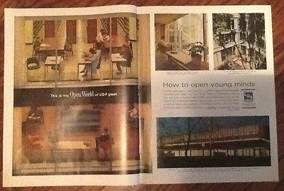 Libbey Owens Ford glass architecture 1963 original vintage ad art 1960s 2 pg ad