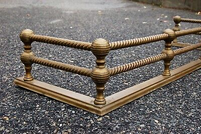 "Federal style BarleyTwist Brass Iron Fireplace Fender Guard Surround 41"" 1900s"