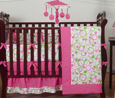 Modern Pink and Green Polka Dot Baby Room 9pc Crib Bedding Set for Newborn Girl