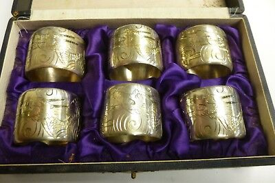 Lovely Antique Early 20Th C Chinese Sterling Silver Napkin Ring Dragon Set Of 6