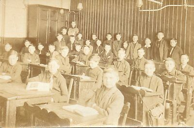 School Boys And Teacher In Classroom, Antique Desks * Vintage View*(B85)