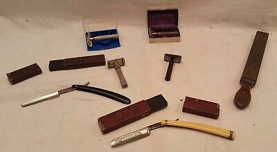 Lot 6 RASOIRS 1 FUSIL Coupe Chou Instrument Rasage Barbe Barbier Gillette N